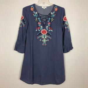 Umgee Womens Tunic Mini Dress Embroidered Small